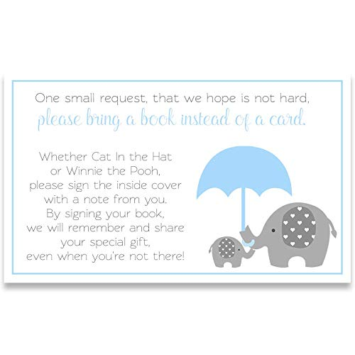 Little Peanut, Boy Baby Shower, Bring A Book, Bring A Book Inserts, It's A Boy, Boys, Baby Shower, Invites, Circus Baby Shower, Elephant Baby Shower, Blue, Gray, White, 24 Pack Bring A Book Inserts ()