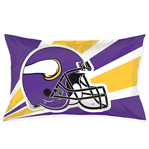 Marrytiny Custom Pillowcase Colorful Minnesota Vikings American Football Team Bedding Pillow Covers Rectangular Pillow Cases for Home Couch Sofa Bedding Decorative - 20x30 Inches