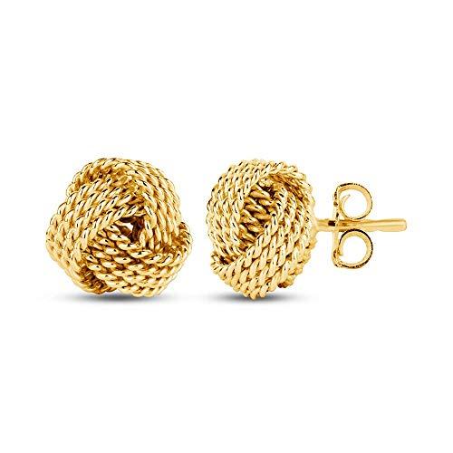 LeCalla Sterling Silver Jewelry Gold Color Italian Design Diamond Cut Wire Love Knot Stud Earring for - Earrings Gold Italian