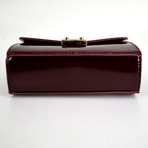 Red Clutch with Patent Women's Handbag Fashion Wine Chain Meliya Leather body Cross Bag Closure Lock Shoulder UwUWqRfAZ