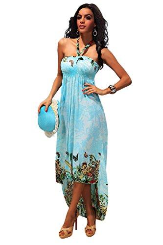 Pink Queen Womens Elastic Halter High Low Long Dress Floral Print Beachwear(XXL)