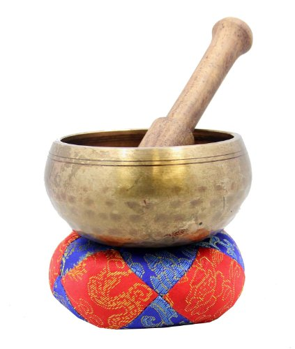 Handmade Hammered Yoga Meditation Palm Size Singing Bowl / Mallet / Silk Cushion Set