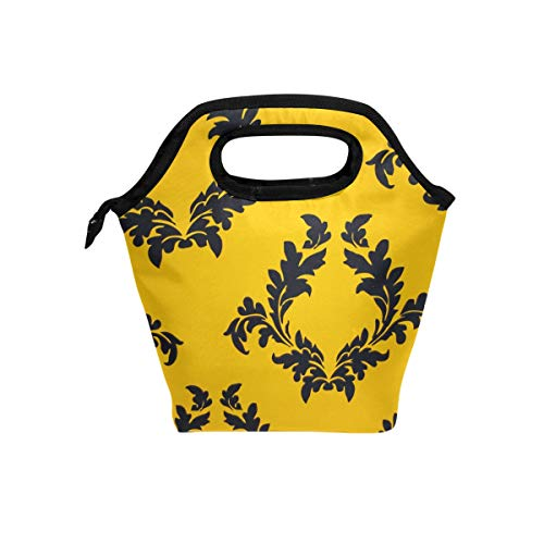 Filagree Design - LENNEL Yellow-Regal-Filagree-Pattern Lunch Bag Cooler Tote Bag Insulated Zipper Lunch Boxes Handbag for Outdoors School Office