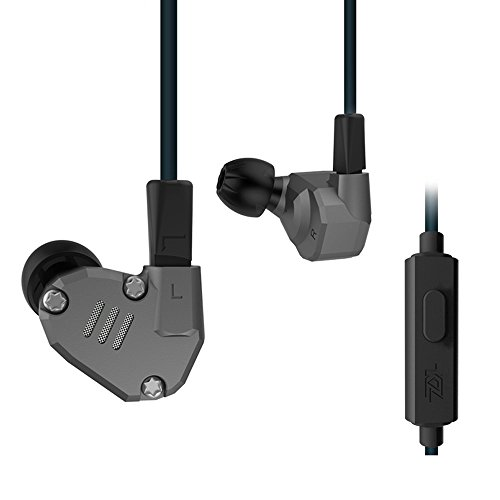 Docooler 3.5mm In Ear Headphones 2DD+2BA Hybrid Drivers HiFi Running Sports Headset Music Earbud Built-in Microphone with Replacement Earphone Cable Black by Docooler