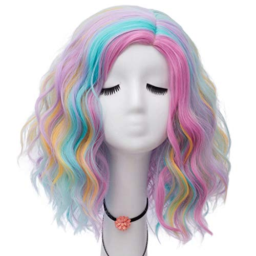 Lefinis Short Colorful Synthetic Heat Resistant Women Fashion Hairstyles Halloween Costume Cosplay Party Wigs -