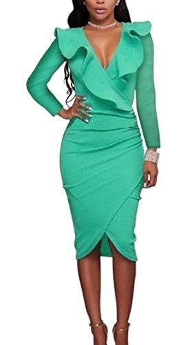 Cocktail V Sexy Dress Ruffle Womens Bodycon Neck 1 Long Jaycargogo Sleeve wU48ZqZ