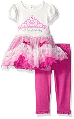 Nannette Baby Girls' Glitter Mesh Dress and Knit Capri Legging, Light Pink, 18M (Capris Satin Girls)