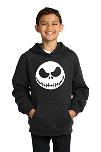 OCPrintShirts Youth Hoodie Fleece Jack Skellington Sweatshirt M Youth Black (Kids Pumpkin Sweatshirt)