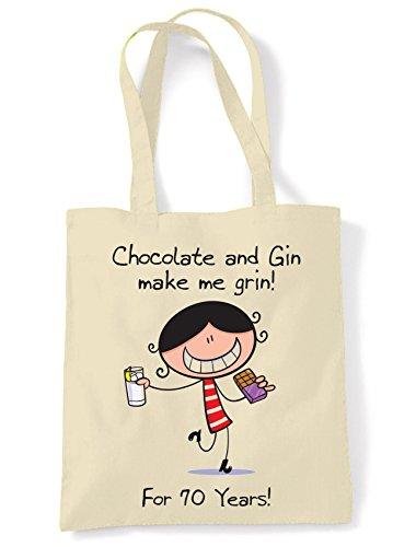 Chocolate & Gin Make Me Grin Damen 70. Geburtstagsgeschenk Schulter Tragetasche