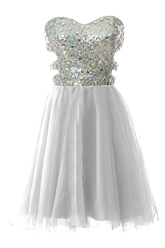 90s Fancy Plus Size Dress (MACloth Women Strapless Cutout Sequin Short Prom Evening Dress Formal Ball Gown (2,)