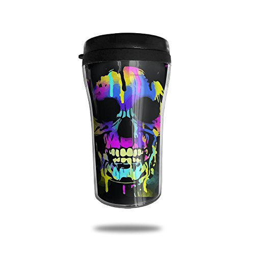 Price comparison product image Skull Paint Drips Pop Colorful Prints Vacuum Insulated Stainless Steel Travel Coffee Mug ,  8.5-oz