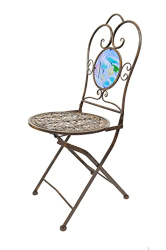 Continental Art Bistro Chair Design Koi Pond Metal and Glass, 15 x 20 x (Koi Pond Glass)
