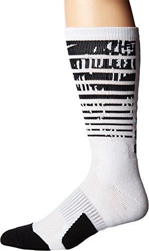 NIKE Elite Pulse Basketball Crew Socks - White/Black/White, XL