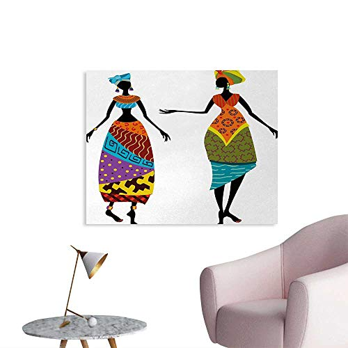 homehot African Woman Custom Poster Tribal Ladies in Traditional Costume Silhouettes Ethnicity Vintage Display Wall Sticker Decals Multicolor W36 xL24