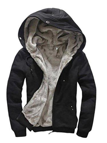 MLG Mens Big And Tall Mid-Weight Zip Front Fleece Hoodie Sweatshirt Black US S -