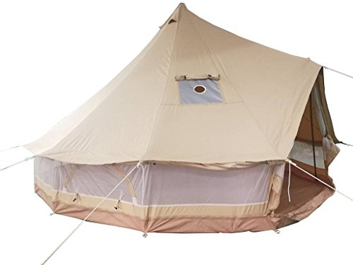 DANCHEL OUTDOOR Cotton Canvas Bell Tent with All Mesh Around with Fireproof Stove Jacket, 16.4ft