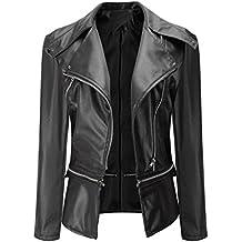 Women Coat, New Hot Sale Fashion Vintage Overcoat Biker Motorcycle PU Leather Zipper Jacket Outwear by Neartime (XL, Black)