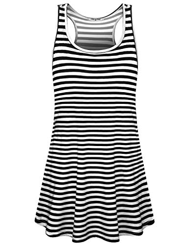 Hibelle Boutique Dresses for Women, Ladies Sun Dress Racerback Scoop Neck Black White Stripes Summer Spring Clothing with Side Pockets Above Knee Length Breathable Tunic Tshirts ()
