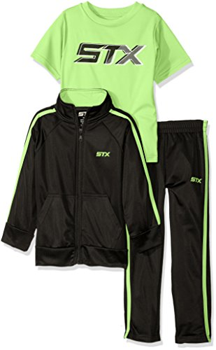 STX Boys' Big Boys' Tricot Jacket and Pant With Logo T-Shirt, Black/Lime, (Mock Neck Set)