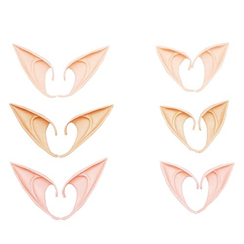 Teensery 6 Pairs Latex Elf Ears Cosplay Costumes Props Halloween Party Props Cosplay Fairy Goblin Soft Pointed Ears -