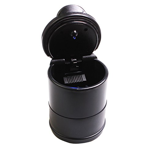 HOBULL Auto Car Cigarette Ashtray with Blue LED Light Smokeless Stand Cylinder Cup Holder Portable Stainless