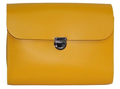 Ampliaci—n de cuero real del bolso de la taleguilla de Crossbody con Cierre con corchetes y correa ajustable Amarillo embrague grande