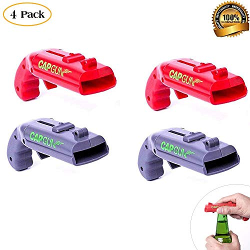 4 Pack Bottle Opener Creative Bottle Opener Cap Gun Plastic Beer Bottle Opener Cap Launcher Shooter for Home Bar Party Drinking Game (Red and Grey)