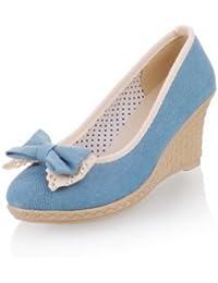 Womens Closed Round Toe Kitten Heel Wedges Denim PU Soft...