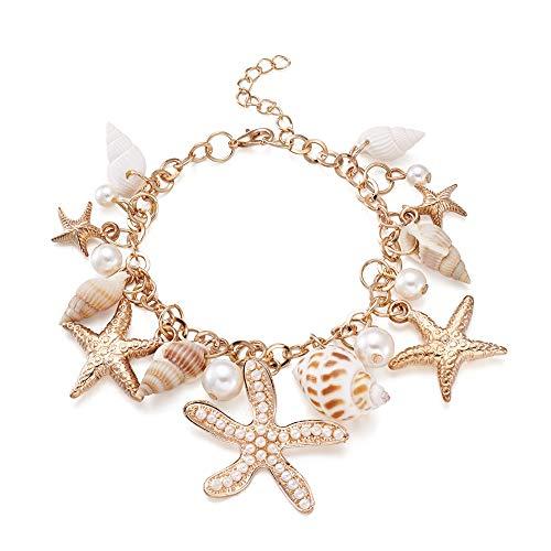 FASHEWELRY Sea Shell Bib Beach Bracelet Starfish Pearl Statement Chunky Pendant Bracelet -