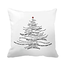 "CiCiDi Pillowcase Quote Christmas Tree White Cotton Canvas Decor Throw Pillow Covers 18""x 18"""