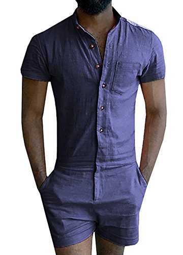 Mens Short Sleeve Jumpsuit Casual Short Cargo Pants Rompers Overall size Large (Dark Blue)