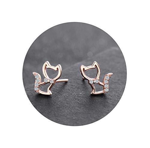 Gnzoe Jewelry - Sterling Silver .925 Animal Cat Stud Earrings for Women -Rose ()