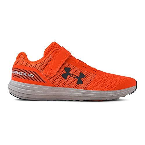 Under Armour Boys' Pre School Surge RN Alternate Closure Sneaker, Orange Glitch (601)/White, - Kids Sneakers Orange