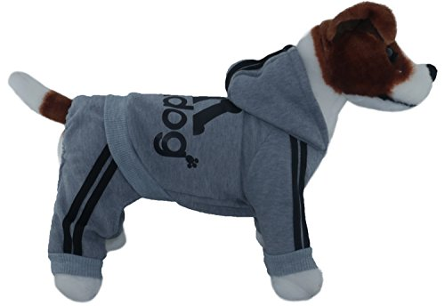 TadMart - Pet Hoodie adidog Christmas 2017 !!!SMALL SIZES!!!(for small dogs,100% cotton sporty hoodie/ sportswear / hooded sweater/ warm sweater / sporty outfit for pets) (XL, Grey) - House Elf Dog Costume