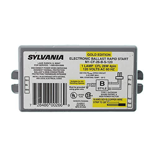 Sylvania M1-CF-26-B-S-120 Electronic Fluorescent Ballast, 1-Lamp, CFL 4-Pin T4, 26W, 120V