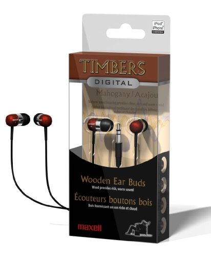 Maxell Digital Mahagany Wooden Timbers Stereo Earbuds