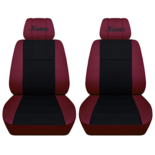 Fits Selected Honda Accord Civic and CR-V Models Black Insert Seat Covers with a Name Airbag Friendly (2013-2015 Civic, Burgundy Black)