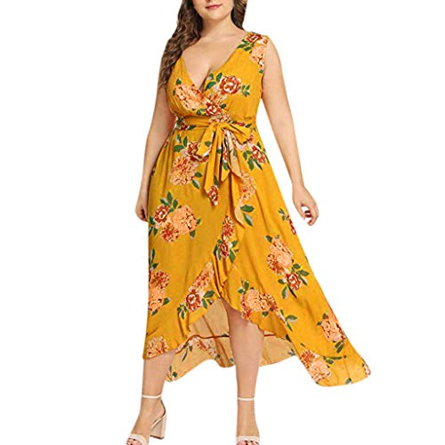 Goddessvan Womens Plus Size Wrap V Neck Empire Waist High Low Summer Short Sleeves Party Midi Dress Yellow
