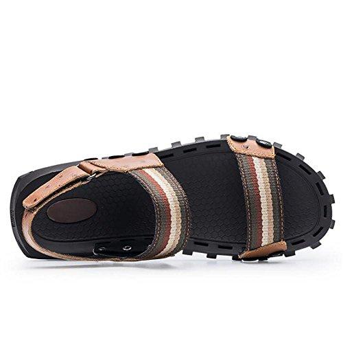 Souple Hommes Slip xie Plage EU45 Ouvert Glissades Tirer Chaussures à Sandales Respirant 38 Semelles Chausson sur En Véritable D'été Non Bout 45 Cuir Taille BROWN aAdUfA