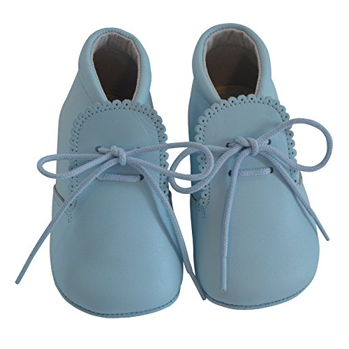 Carriage Boutique Baby Boys Leather Soft Sole Shoes w/Laces - Blue, Size 15 EU/0 US - Carriage Lace