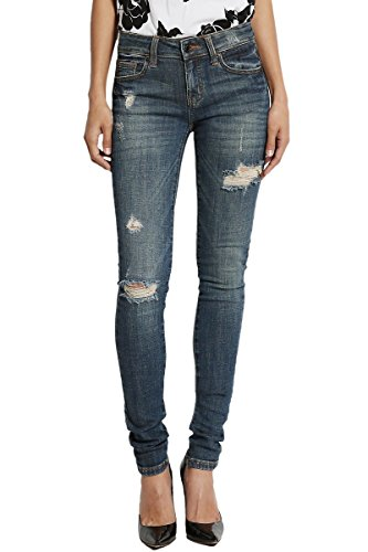 TheMogan Women's Shredded Ripped Mid Rise Dark Blue Skinny Jeans Dark 9 (Low Rise Mid Rise Jeans)