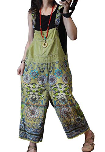 Flygo Women's Loose Floral Printed Distressed Capri Denim Bib Overalls Jumpsuit Rompers with Pockets (One Size, Style 06 Green)