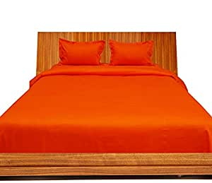 Brightlinen Orange Emperor (215 X 215 Cm) Duvet Set Flat Sheet Solid 4pcs