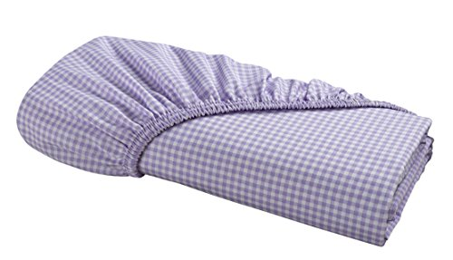 FITTED Sheet by DELANNA 100% Cotton Percale Weave Bottom Sheet Crisp, Comfortable, Breathable, Soft and Durable (Twin, Lilac Gingham) (Percale 220 Case Pillow)