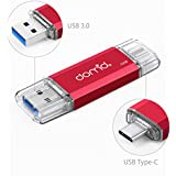 Domido 32GB USB 3.0 Type C OTG Flash Drive for Samsung Galaxy S8, Type C Cell Phone and Tablets, LG G6, Google Piexl, Nokia N1, New Macbook Red (HF-A24)