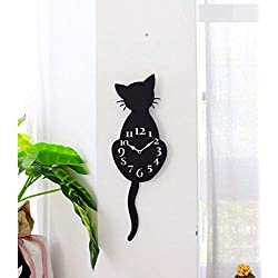 """Reloj de pared con número grande de Lyperkin, moderno acrílico creativo con dibujos animados para gatos, reloj de pared, decoración del hogar, reloj de camino, reloj de movimiento de cola, estilo moderno, buen salón y casa y oficina con batería de funcionamiento (12""""), D"""