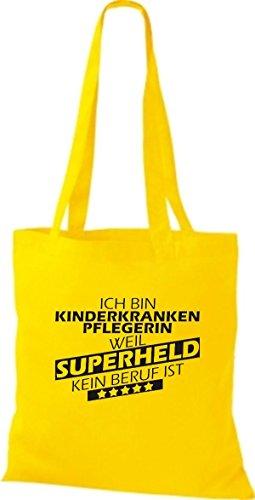 Shirtstown Stoffbeutel Ich bin Kinderkrankenpflegerin, weil Superheld kein Beruf ist goldgelb
