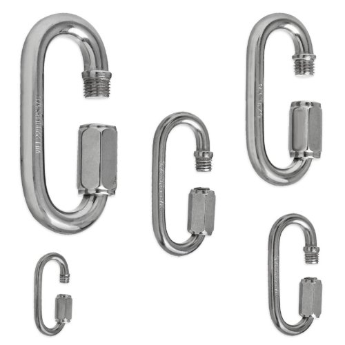 Stainless Steel Quick Links – Type 316 SS – 5 Sizes – 1/8″ to 3/8″ – 1-3/8″ to 3-1/2″ SS link size: 3/16 x 2″, Outdoor Stuffs