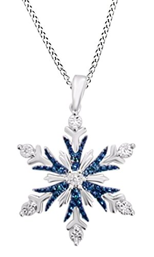 Blue & White Natural Diamond Accent Snowflake Pendant Necklace in 14K White Gold Over Sterling (Blue Diamond Snowflake Pendant)