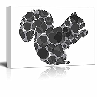 Foraging Squirrel and Acorn Silhouette Black and White...32